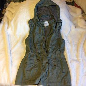 Green khaki cotton hooded vest
